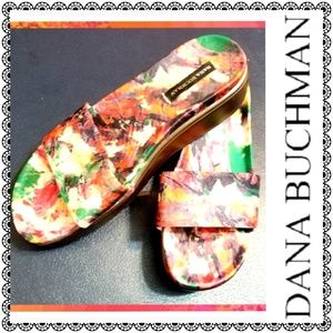 {Dana Buchman} tropical multicolor mules, sz 7.5
